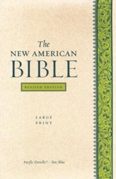 The New American Bible, Bonded Leather, Tan/Blue   Pacific Duvelle, Large Print, Revised Edition