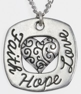 Faith, Hope, Love Heart Necklace