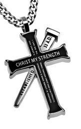 Christ My Strength Established Cross Necklace, Black