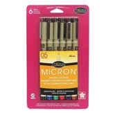 Pigma Micron 05, Set of 6, Assorted Colors