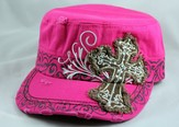 Designer Hat, Pink Cross