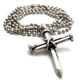 Three Nail Cross, Antique Pewter Pendant Necklace