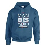I'm A Man Of His Word, Hooded Sweatshirt, Blue, X-Large