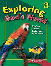 Abeka Exploring God's World Grade 3 Student Quizzes, Tests,  and Worksheets