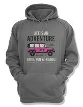 Life Is An Adventure, Hooded Sweatshirt, Gray, Large