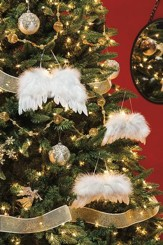 White Feather Wing Ornament, Set of 3