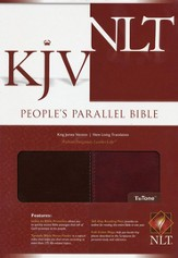 KJV/NLT People's Parallel Edition, Tutone, Leather Like  Walnut/Burgundy - Slightly Imperfect