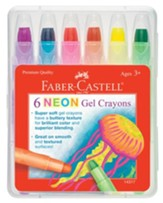 Neon Gel Crayons, Pack of 6