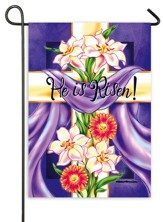 He Is Risen, Floral Cross Flag, Mini