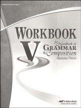 Abeka Workbook V for Handbook of  Grammar and Composition Quizzes/Tests