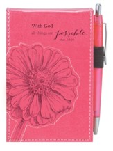 With God, All Things Are Possible Notepad, Pink