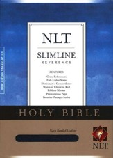 NLT Slimline Reference Bible--bonded leather, navy blue