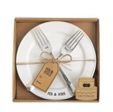 Mr. and Mrs. Plate and Fork Set, 3 Pieces