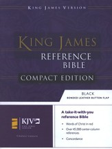 KJV Compact Reference Bible, Button Flap, Bonded Black