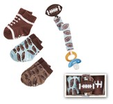 Football Sock & Pacifier Clip Set