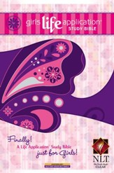 NLT Girls Life Application Study Bible, Glittery Grape Butterfly - Slightly Imperfect