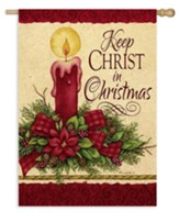 Keep Christ in Christmas, Candle, Flag, Large