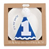 Birthday Boy Cake Plate & Party Hat Set