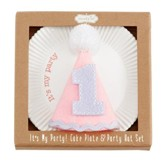 Birthday Girl Cake Plate & Party Hat Set