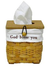 God Bless You Tissue Basket with White Lining