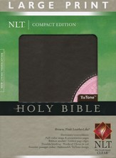 NLT Large Print Compact Edition, TuTone Brown and Pink Imitation Leather - Slightly Imperfect