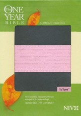 NIV One Year Bible Slimline Edition, TuTone Leatherlike Gray/Pink 1984 - Imperfectly Imprinted Bibles