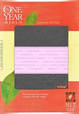 NLT One Year Bible Slimline Edition,  TuTone Leatherlike Gray/Pink