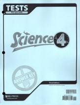 BJU Science Tests Answer Key Grade 4 (Third Edition)