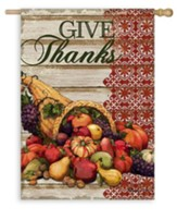 Give Thanks, Cornucopia, Flag, Large