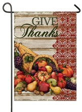 Give Thanks, Cornucopia, Flag, Small