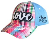 Love One Another Cap, Blue Plaid