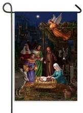 Angel Over Nativity Scene, Flag, Small