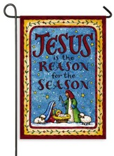 Jesus is the Reason for the Season, Nativity, Flag, Small