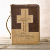 John 3:16 Cross Bible Cover, Brown and Tan, Large