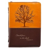 Stand Firm Bible Cover, Brown and Tan, Large