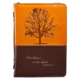 Stand Firm Bible Cover, Brown and Tan, Medium
