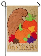 Give Thanks, Cornucopia, Burlap Flag, Small