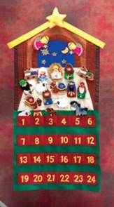 Felt Advent Calendar with Pockets, 24 Velcro Pieces