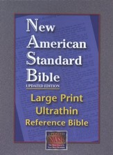 NASB Large-Print Ultrathin Reference Bible--bonded leather, black - Imperfectly Imprinted Bibles