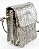 Crossbody Wristlet, Faux Patent Leather Croc-Look, Gray