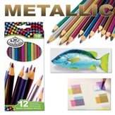 Colored Pencil Set, Metallic, Pack of 12