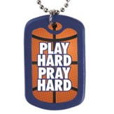 Play Hard, Pray Hard, Faith Tag Necklace