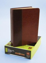 NLT Parallel Study Bible Tutone Brown/Tan Leatherlike, Indexed - Imperfectly Imprinted Bibles
