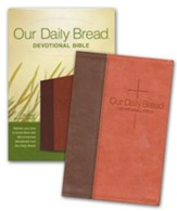 NLT Our Daily Bread Devotional Bible, Leatherlike Brown/Tan - Slightly Imperfect