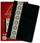 NIV Life Application Study Bible, TuTone Black/Ivory Floral Fabric Indexed Leatherlike - Slightly Imperfect