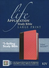 KJV Life Application Study Bible, Large Print TuTone Dark Brown / Coral Quilt Imitation Leather - Slightly Imperfect
