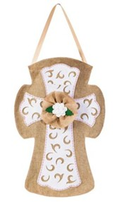 Cross Burlap Door Decor Hanger