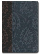 NLT Premium Slimline Reference Large Print, TuTone Leatherlike Dark Brown/Dusty Blue