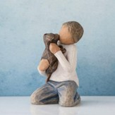 Kindness, Boy with Puppy Figure By Willow Tree