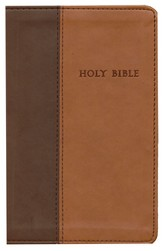 NLT Premium Value Compact (4 x 6) Slimline Bible, TuTone Leatherlike brown/tan - Slightly Imperfect